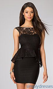 Buy Short Sleeveless Lace Peplum Dress at SimplyDresses