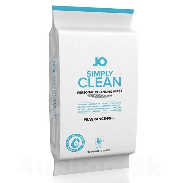 JO Simply Clean vådservietter - 30 stk - Uden duft - simply clean holder din krop ren efter heftig sex. Gør huden frisk på et øjeblik #cleaner #systemjo #hygiejne #kropsrengøring