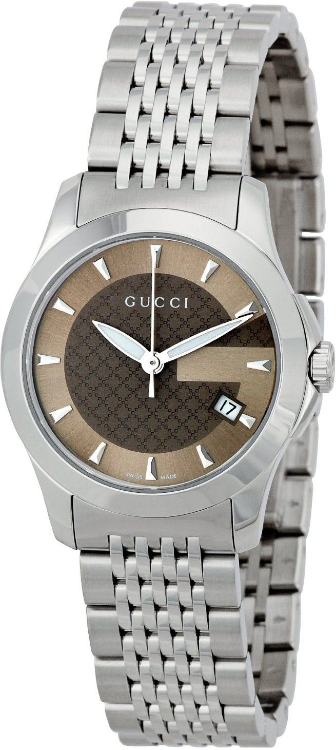 Gucci Watch , Gucci Women's YA126503 Gucci Timeless Brown Dial Stainless-Steel Bracelet Watch