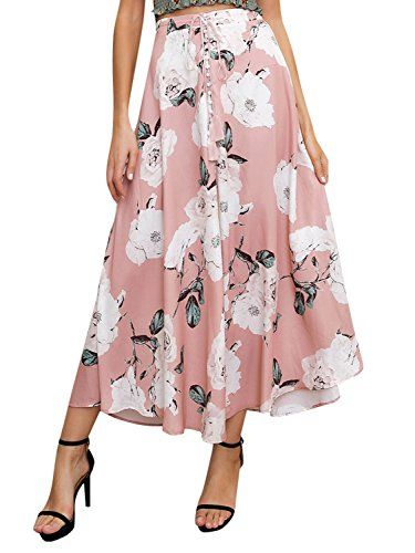 390bdc4f81619 Simplee Women's Summer Casual High Waisted Elastic Skirt Boho Floral ...