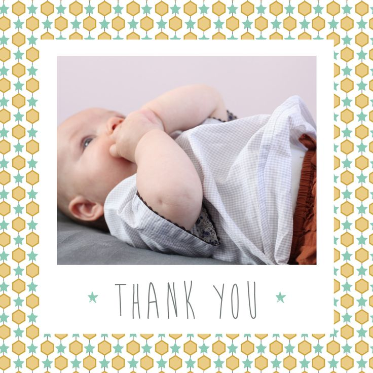 Show your gratitude to your family and friends for their kind words, helping hands and baby gifts with our Capri Photo baby thank you cards. These personalised baby thank you cards come in a square format and feature a lovely tile border surrounding a polaroid style photo frame. #babythankyoucards #babystationery #personalisedbabythankyoucards