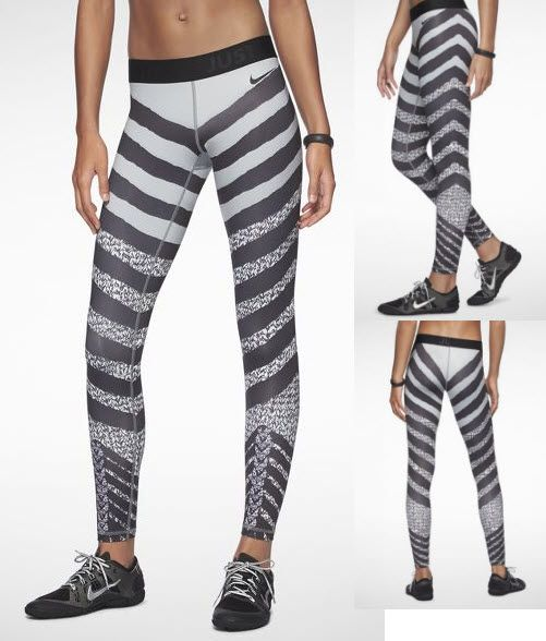 Fashion Running Tights By Nike - Pro Zebra Print Zebra again! After Adidas Zebra tights, Nike came out with these Pro Zebra Print Knit. #runningtights #fashion