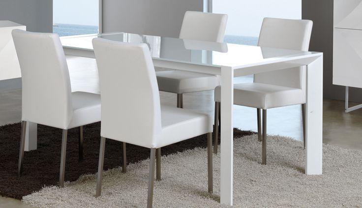 nice Salle à manger - Table de salle à manger extensible verre et métal blanc design NARA...