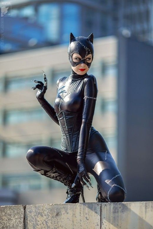 """MIchelle Pfeiffer looks beautiful dressed up in her Catwoman costume for """"Batman Returns"""" in 1992."""