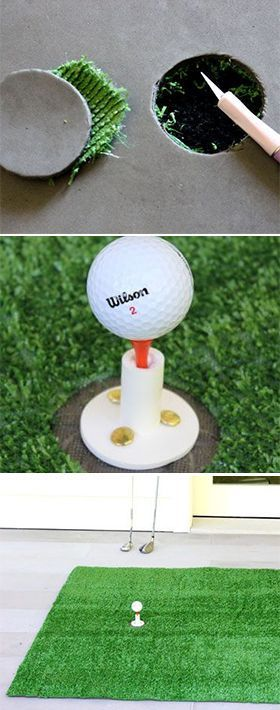 Golf anytime with your own DIY golf mat. Simple tutorial on how to make this so you can play anywhere.