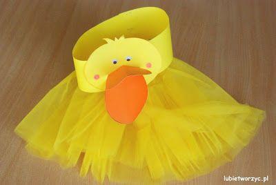 Przebranie kaczki (nr 1) - papierowa opaska na głowę i tiulowa spódniczka (całość w wersji DIY)
