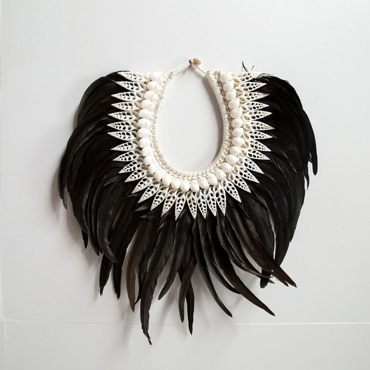 Papua Feather and Shell Ceremonial Necklace (Black)