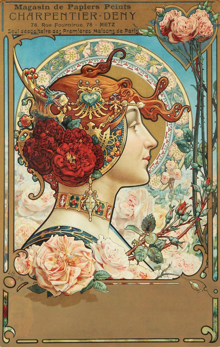 Art Nouveau - Affiche - Papiers Peints Charpentier Deny - Louis Théophile Hingre - 1890