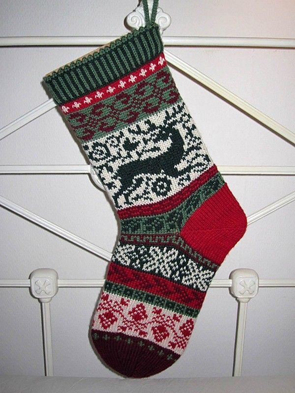 как связать рождественский носок