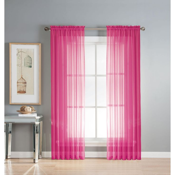 Window Elements Diamond Sheer Voile 56 x 95 in. Rod Pocket Curtain Panel - 56 x 95 (HOT Pink) (Polyester, Solid)