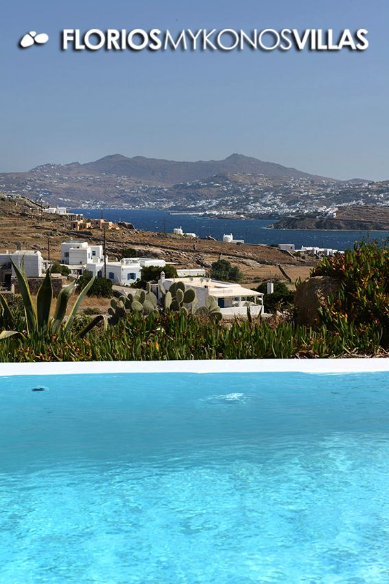 The infinity pool blends with the blue of the sea, thanks to the artificial waterfall that is created on the front side. The exterior setting of this residence is shaped in different levels creating more spaces. FMV1327 Villa for Rent on Mykonos island, Greece. http://florios-mykonos-villas.com/property/fmv1327/