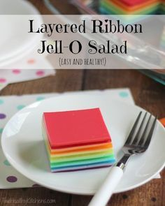 Layered Ribbon Jell-O Salad   Two Healthy Kitchens - A classic reborn! No one will ever guess how much healthier this pretty, rainbow-colored Jell-O salad is! It's high in protein … and incredibly easy to make!