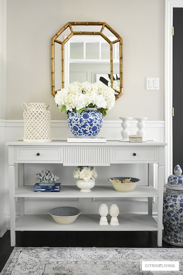 Elegant Summer Entryway With A Coastal Feel Console Table Styling White Console Table Entryway Console Table