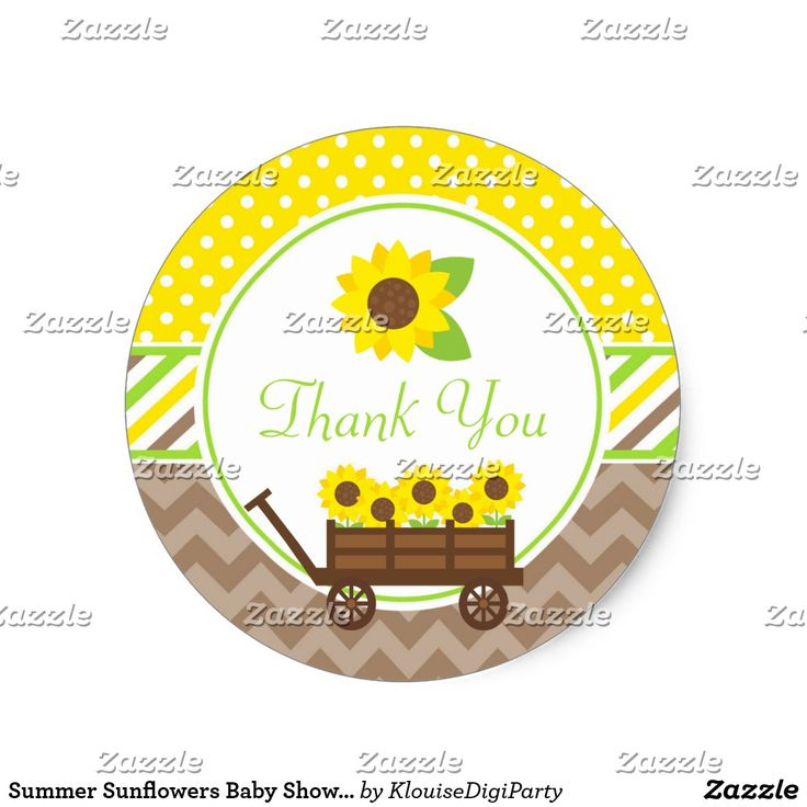 Summer Sunflowers Baby Shower Thank You Classic Round Sticker