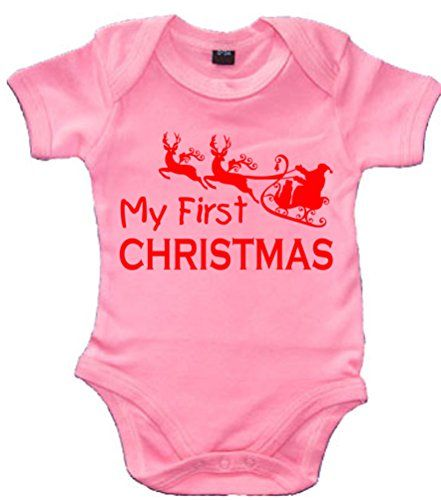 Bubblegum Pink MY 1ST CHRISTMAS' with Red Print.