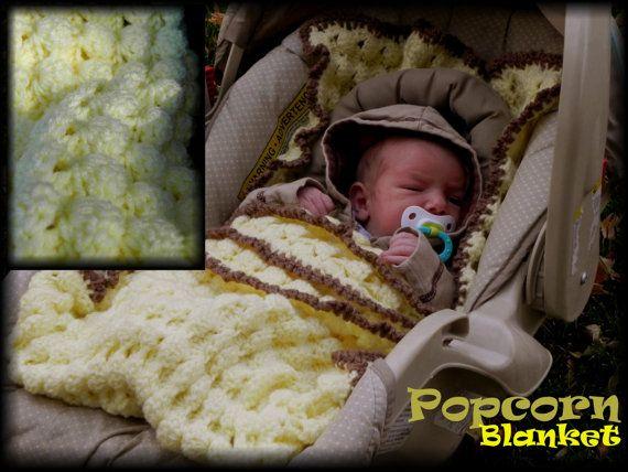Popcorn Car Seat Blanket Crochet Pattern