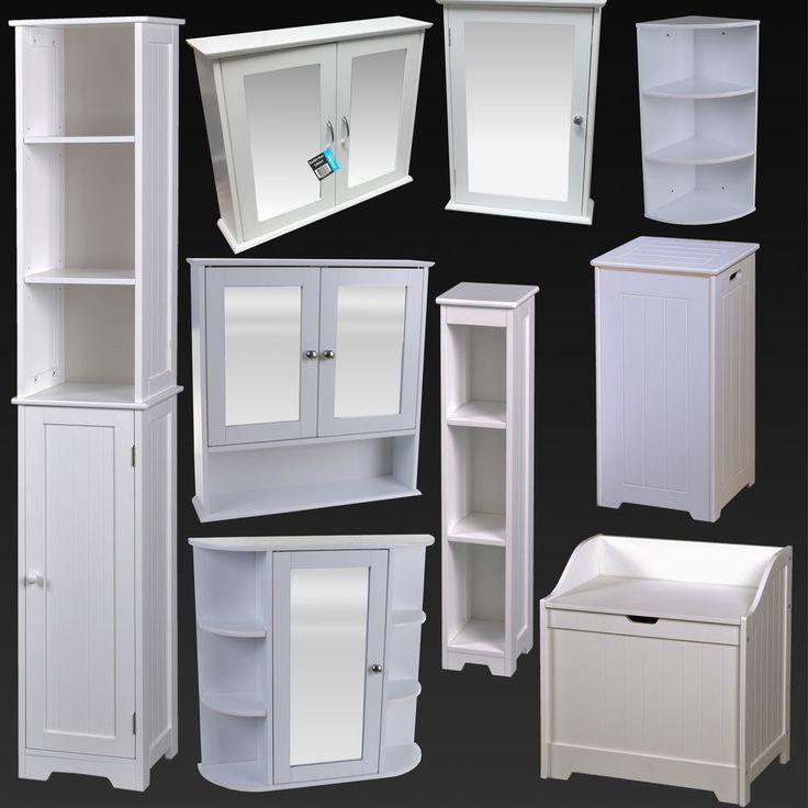 Details About White Bathroom Furniture Cabinet Shelving Laundry Bin Mirror Door Medicine Sink