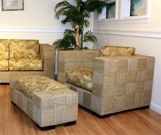Seagrass Chair And Ottoman   Monterey