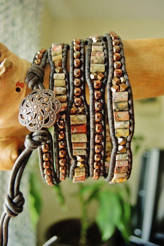 Mexican Crazy Lace & Antique Copper 5 Wrap by BraceletsofBlueRidge, $86.00