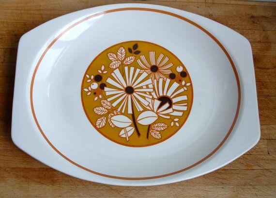1970s's J&G Meakin Serving Plate/Sandwhich platter-  English Ironstone Stoneware Retro Tableware