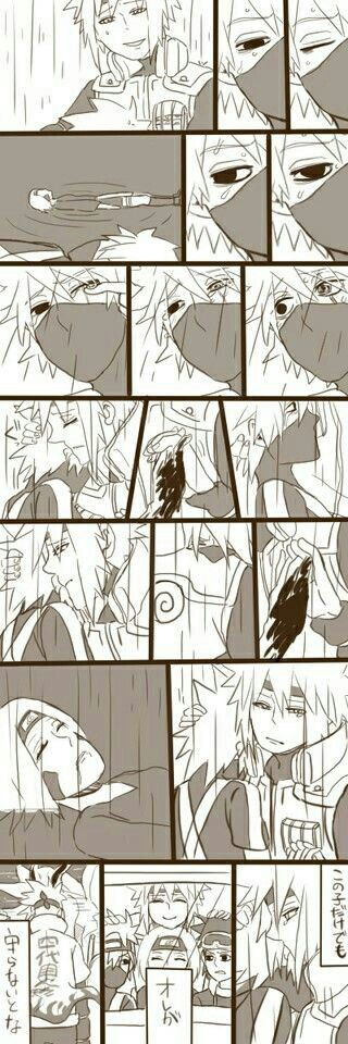 Minato, Kakashi, Rin, sad, Team Minato, Obito, crying, death, text, raining, comic, Fourth Hokage; Naruto
