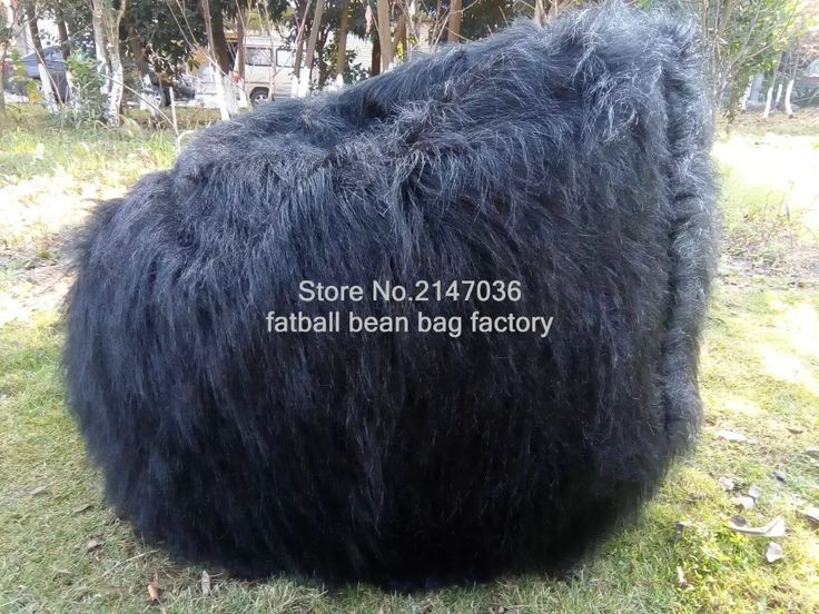 Large Faux Fur Beanbag Bean Bag Cover Shaggy Fur White Soft Luxury Lounge Chair, long fur black bean bag loungers