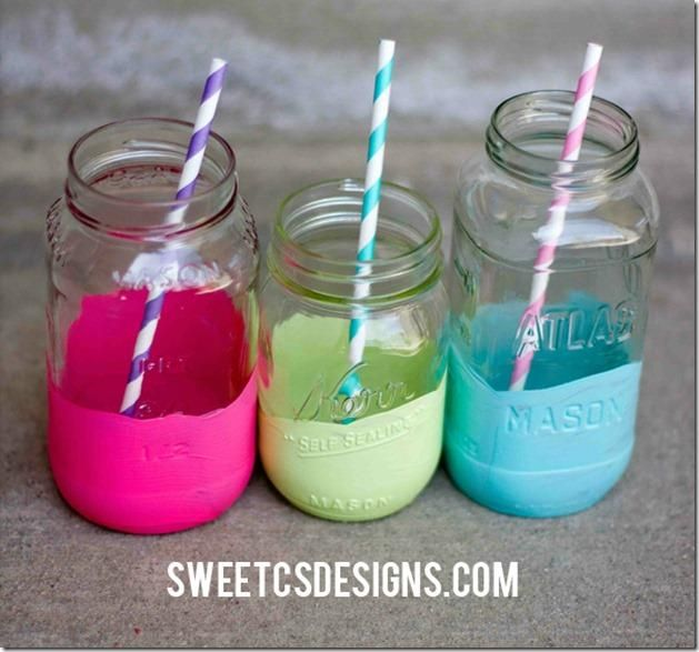Color Dipped Mason Jars - party glasses