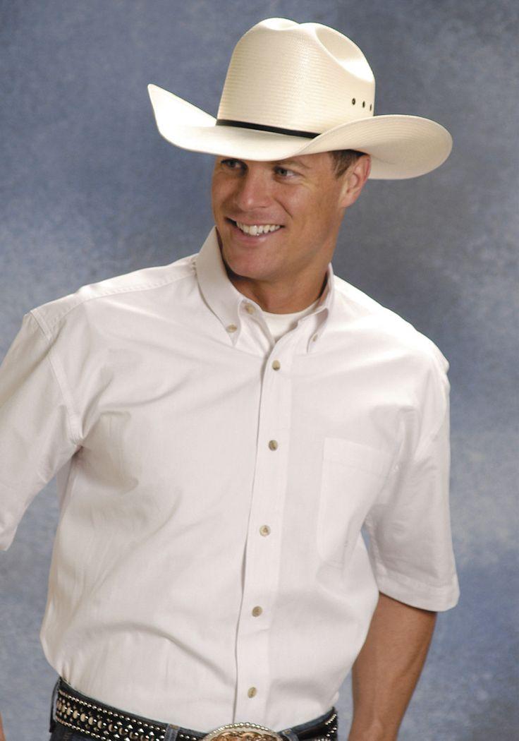 Roper mens white 100 cotton s s 1 pkt button down poplin for Mens 100 cotton button down shirts