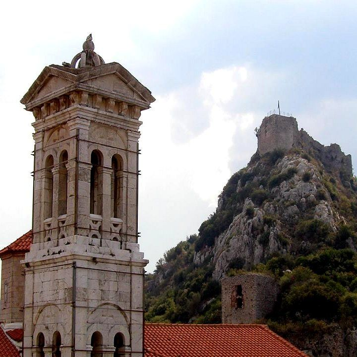 Belltower with the Karytaina Castle in the background, Karytaina, Arcadia, Greece