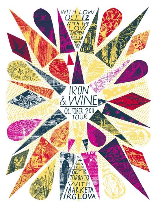 Iron & Wine October 2011 Tour Poster Design by Grady McFerrin