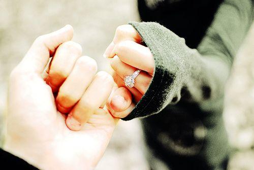 Engagement photo idea-pinky promise.