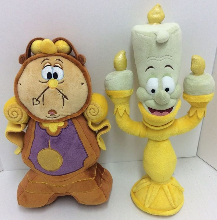 Disney Cogsworth Lumiere Plush Beauty And The Beast Stuffed Animal Set #Disney
