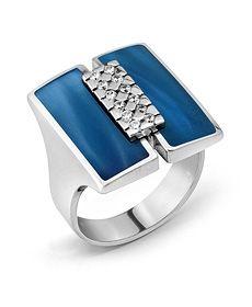 Jewels #clozeau Bague Or Blanc 18K, diamants et résine