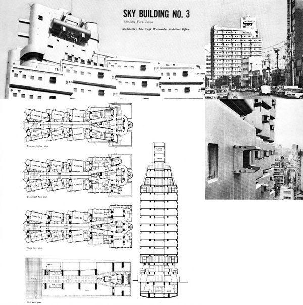 New Sky Building de Watanabe Youji (1970), reprenant le système de capsules clip-on, seule survivance concrète du mouvement métaboliste.