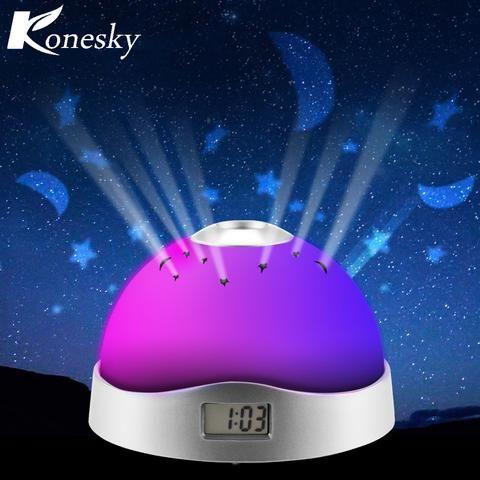 Romantic Rotating Star Night Projector Lamp (Music/Alarm/Clock/Calendar/Thermometer)