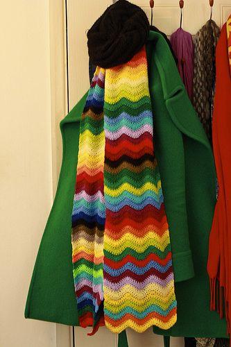 Rainbow Ripple Stitch Crochet Scarf ~ Inspiration.  Ripple is from Attic24  http://attic24.typepad.com/weblog/neat-ripple-pattern.html