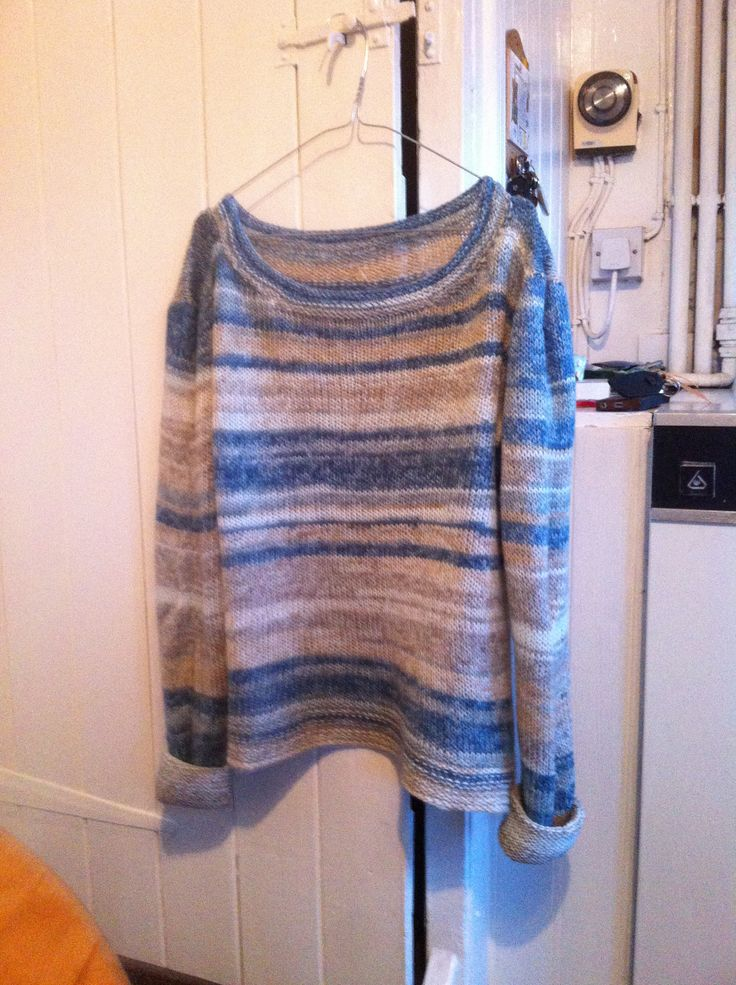 Made this sweater with wool by James C Brett. It is a self colour yarn, called Woodlander, shade L9. I love the muted shades. The pattern is free http://www.redheart.com/free-patterns/easy-weekend-pullover   I bought the wool at the Knitting and Stitching show at Ally Pally.