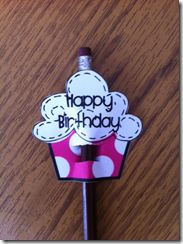 bday pencil topper for students instead of a crown and a gift scroll on the blog