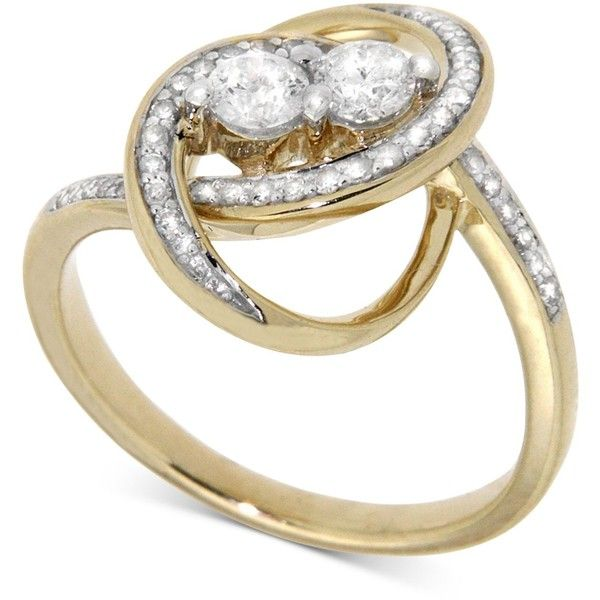 Wrapped In Love Diamond Two-Stone Oval Ring (1/2 ct. t.w.) in 14k Gold (€805) ❤ liked on Polyvore featuring jewelry, rings, yellow gold, 14 karat gold diamond ring, diamond wrap ring, oval diamond ring, 14 karat diamond ring and oval ring