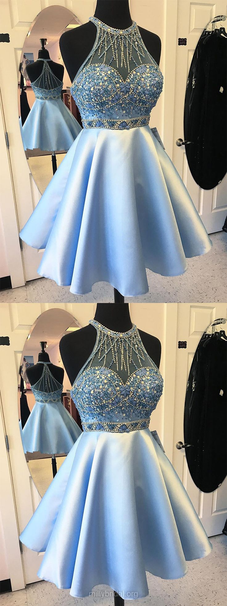 Blue Prom Dresses Short, 2018 Prom Dresses For Teens, A-line Prom Dresses Scoop Neck, Satin Tulle Prom Dresses Beading Modest