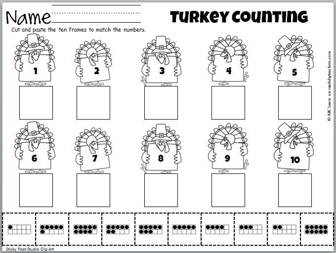 Cut and Paste math activity for numbers 1 to 10 on Turkeys.  Fun fall or Thanksgiving activity.