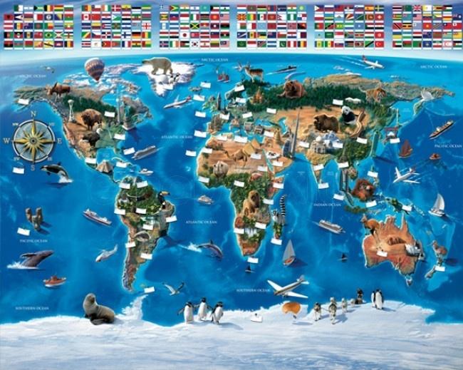 Map of the world Walltastic muurbehang - kinderkamerdecoratie wereldkaart 3D | Emob4kids
