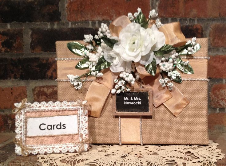 Burlap Wedding Card Box, Burlap Wedding Money Box, Rustic Wedding Gift Box,  Burlap