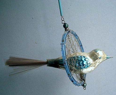 Vintage glass Christmas tree ornament - bird in hoop.
