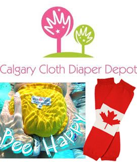 Calgary Cloth Diaper Depot is giving away an exclusive swim diaper package that includes: AppleCheeks Bee Happy swim diaper (size 1 or 2), a Travel Duo wet bag, Canada maple leaf leg warmers and a Bummis Mini Fab.