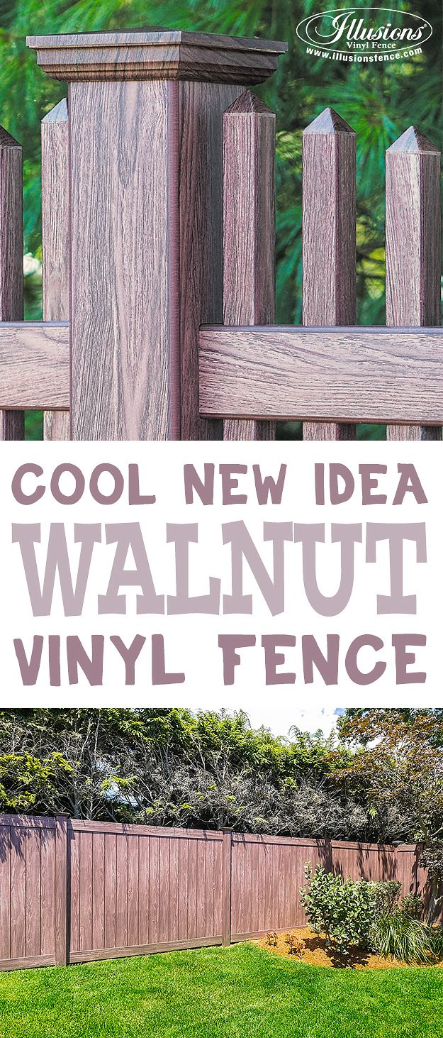 109 best vinyl fence images on pinterest fence ideas pvc vinyl looking for an awesome new backyard idea try walnut pvc vinyl fence from illusions vinyl baanklon Image collections