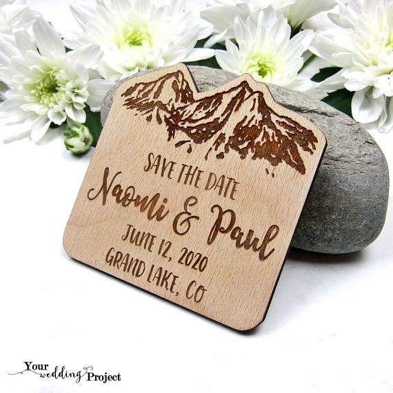 Wooden Magnet Save The Date Magnet Rustic Save The Date Mountain Save The Date Wedding Favors Wedding Invitation Wood Save The Dates
