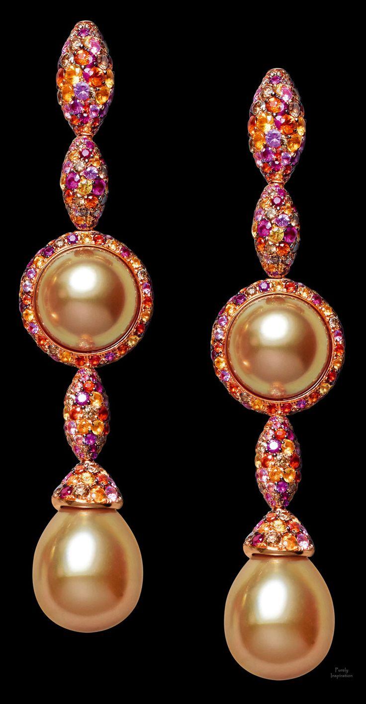de Grisogono earrings  Pink gold - pearls - brown diamonds - rubies - yellow sapphires - orange sapphires - pink sapphires