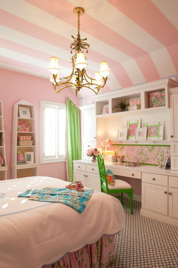 pink and white striped walls victoria secret style decorating kids room ideas