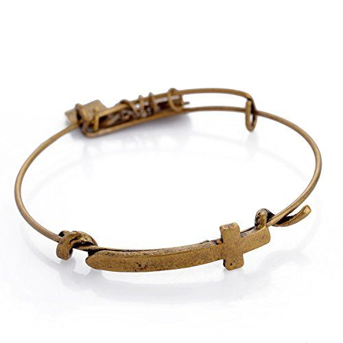"""Me & You - Catholic Christian Cross Guard Expandable Wire Bangle Bar Bracelet. -& Chain Necklace in Gift of """" I Love You to the Moon and Back"""". 1 Bonus!!! Buy now Catholic Christian Cross Bangle and get very special bonus and very nice gift for you , vintage necklace """"I Love you to the Moon and back """"see them in the gift box This gift Chain & bracelet together - is a perfect set Handmade Crafted from high quality silver or gold plated base materials, the """"Me And You"""" charm bracelet…"""